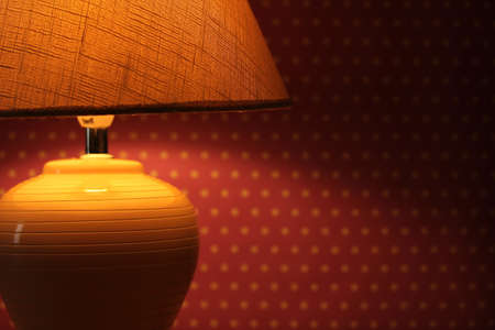 table lamp on wallpaper background  Stock Photo - 16670316