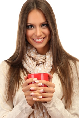 beautiful young woman with cup of tea, isolated on white photo