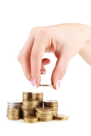 Woman hand with coins, close up Stock Photo - 16668396