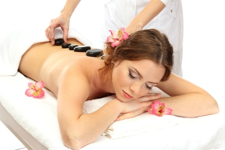 beautiful young woman in spa salon getting massage with spa stones Stock Photo - 17132513