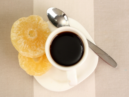 Cup of coffee on brown background Stock Photo - 16728338