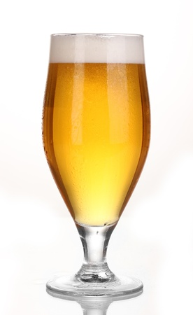 glass of beer: Glass of beer isolated on white