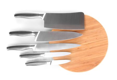 Set of knives isolated on white photo
