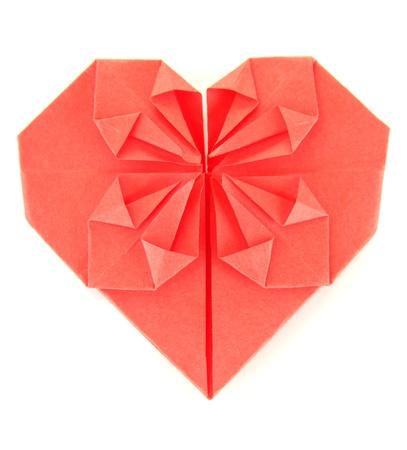 Origami Corazón De Papel En El Fondo Rosado Fotos, Retratos ...