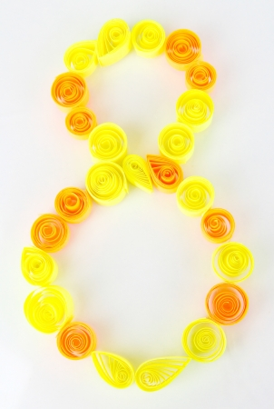 quilling: The digit 8 is made of quilling isolated on white