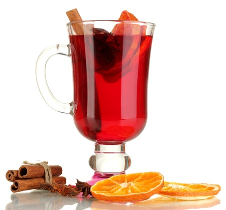Fragrant mulled wine in glass isolated on white
