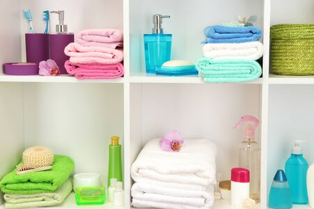 Bath accessories on shelfs in bathroom Stock Photo - 16737720