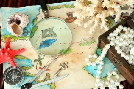 map of treasures on dark wooden background Stock Photo - 16738766