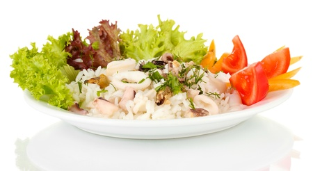 Delicatessen seafood salad with rice isolated on white Stock Photo - 16738061