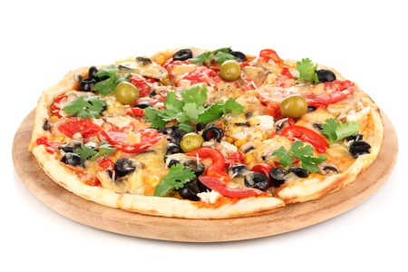 supreme: Tasty pizza with vegetables, chicken and olives isolated on white