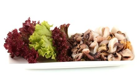 Healthy Seafood Salad with shrimps,octopus and mussels,squids isolated on white Stock Photo - 16738151