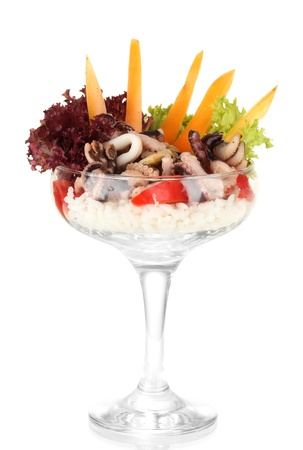Delicatessen seafood salad with rice in glass isolated on white Stock Photo - 16738014