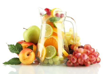 transparent jar with exotic  fruits, isolated on white Stock Photo - 16788022