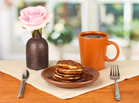 delicious sweet pancakes on bright background Stock Photo - 16788866