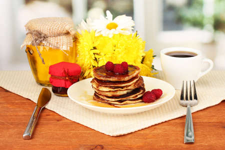 delicious sweet pancakes on bright background Stock Photo - 16788871