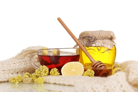 strengthening: Healthy ingredients for strengthening immunity on warm scarf isolated on white
