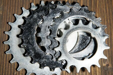 Group of metal cogwheels photo