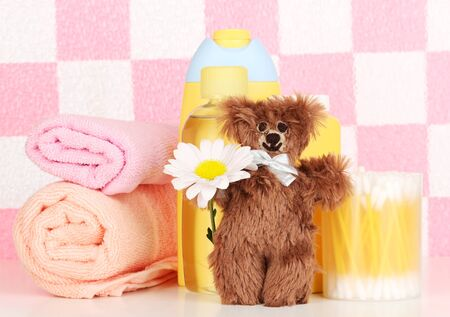 Baby cosmetics in bathroom photo
