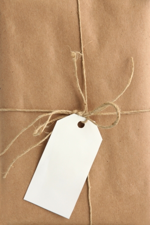 parcel box with kraft paper, close up photo
