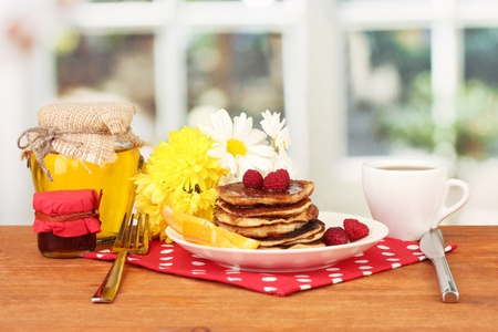 delicious sweet pancakes on bright background Stock Photo - 16864926