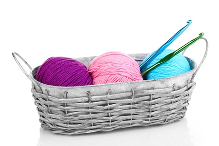 Bright threads for knitting in basket isolated on white photo