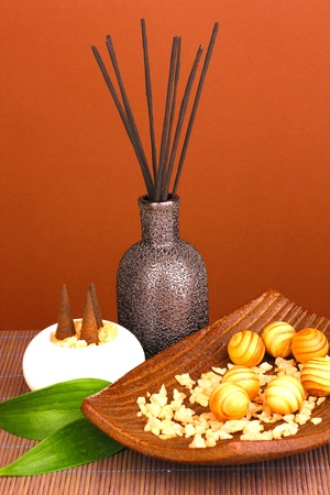 aromatherapy setting on brown background   photo