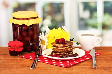 delicious sweet pancakes on bright background Stock Photo - 16865323