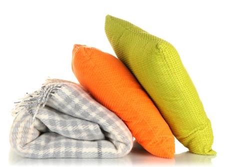 Kussen Wit 16 : Wollen geruite plaid en kussens geïsoleerd op wit royalty vrije