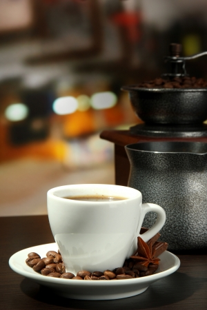 cup of coffee, grinder, turk and coffee beans in cafe Stock Photo - 16948793