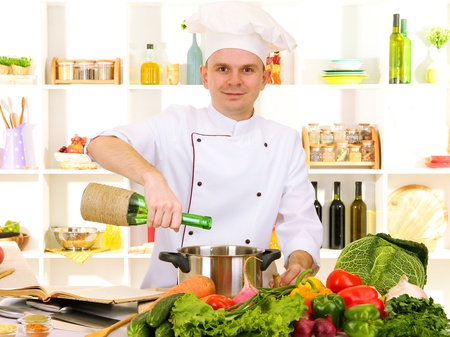 culinary skills: Chef cooking in kitchen