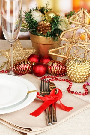 Serving Christmas table close-up Stock Photo - 16949389