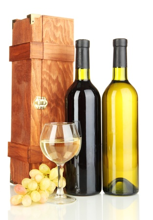 Wooden case with wine bottles isolated on white Stock Photo - 16944948