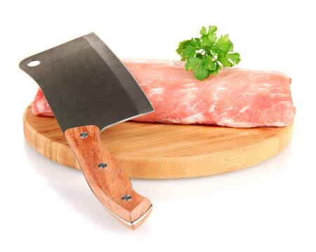 Ņhatchet: pork with a meat hatchet isolated on white Stock Photo