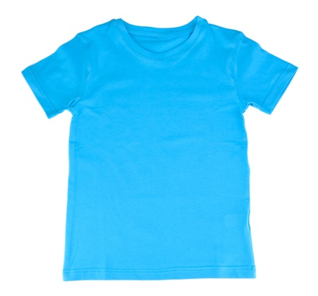 Blue t-shirt isolated on white photo