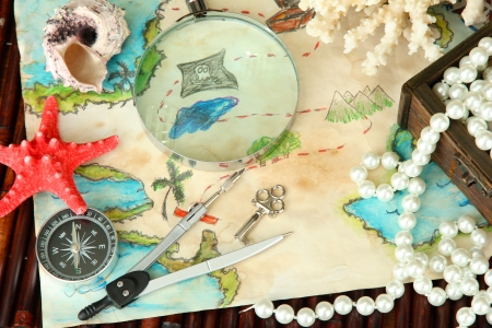 map of treasures on dark wooden background Stock Photo - 16914743