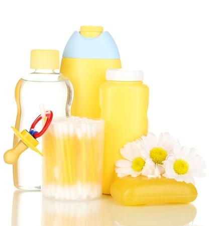 Baby cosmetics isolated on white photo
