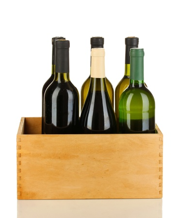 aligote: Wine bottles in wooden box isolated on white
