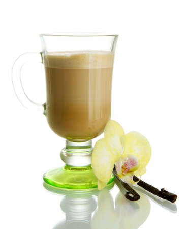 Fragrant coffee latte in glass cup with vanilla pods isolated on white Stock Photo - 16912817