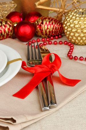 Serving Christmas table close-up Stock Photo - 16914430