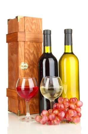 Wooden case with wine bottles isolated on white Stock Photo - 16913096