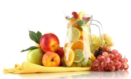 transparent jar with exotic  fruits, isolated on white Stock Photo - 16937952