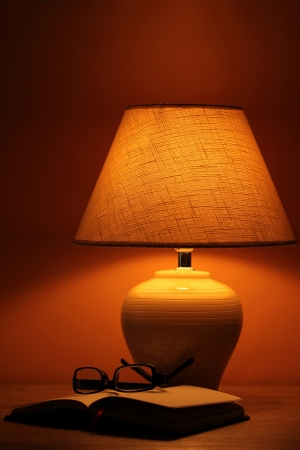 table lamp on brown background Stock Photo - 16938884