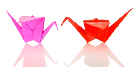 Origami cranes isolated on white photo