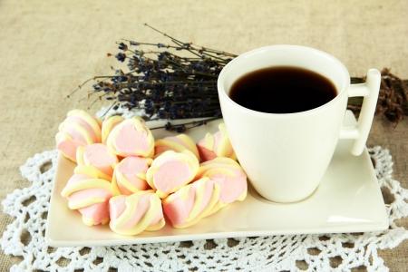 Marshmallows on plate on light background Stock Photo - 16938803