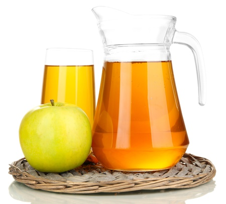 Full glass and jug of apple juice and apple isolted on white Stock Photo