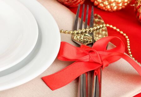 Serving Christmas table close-up Stock Photo - 16938871