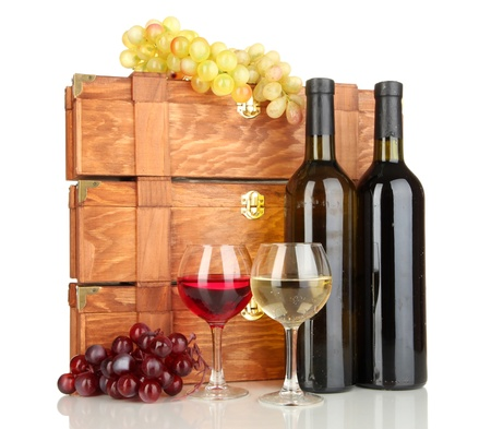 bordeau: Wooden cases with wine bottles isolated on white Stock Photo