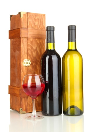 Wooden case with wine bottles isolated on white Stock Photo - 16938022