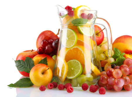 transparent jar with exotic  fruits, isolated on white Stock Photo - 16956189