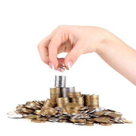 Woman hand with coins, close up Stock Photo - 16956182